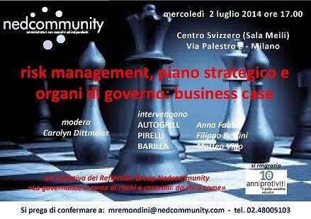 Risk management, Piano strategico e Organi di governo: casi a confronto, incontro a Milano con Pirelli, Autogrill, Barilla