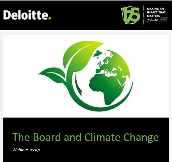 Webinar – The Board and Climate Change – Deloitte