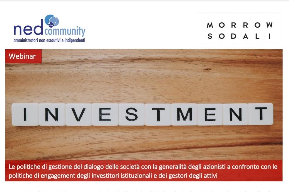 Webinar – 31/03/2021 – Le politiche di gestione del dialogo delle società con la generalità degli azionisti a confronto con le politiche di engagement degli investitori istituzionali e dei gestori degli attivi