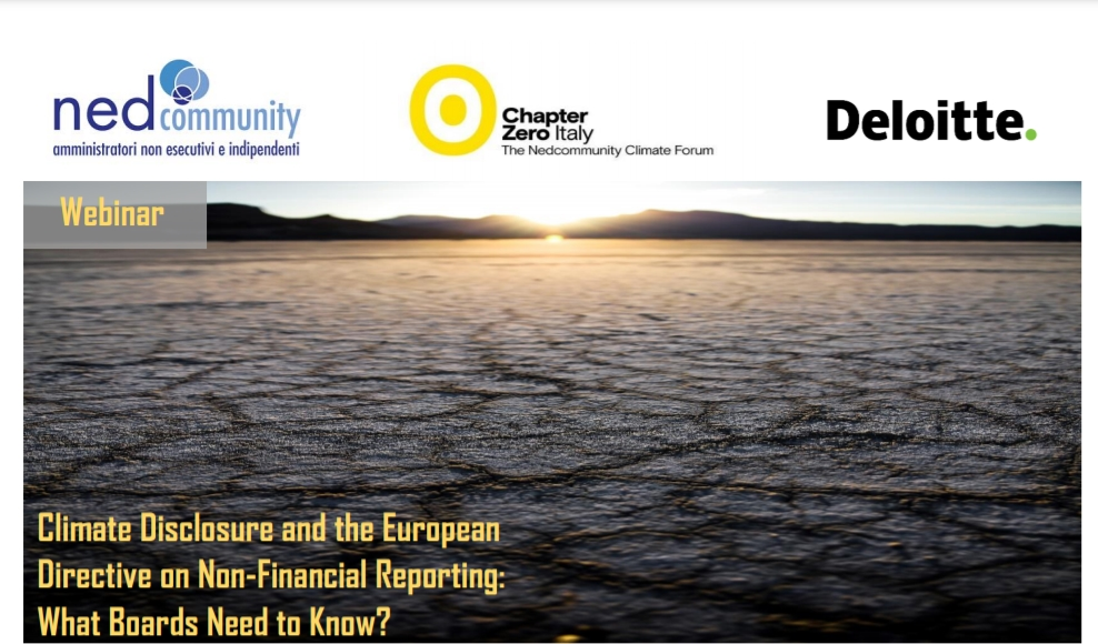 Webinar – 26/03/2021 – Climate Disclosure and the European Directive on Non-Financial Reporting: What Boards Need to Know?