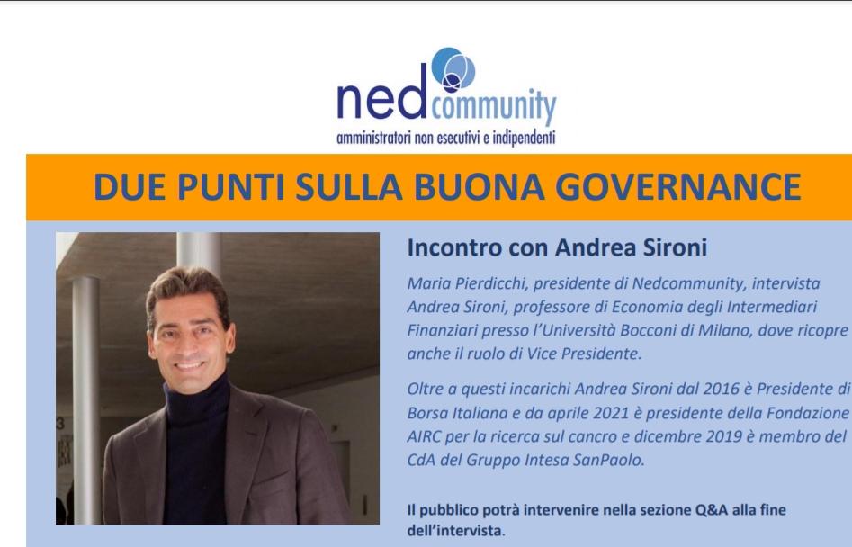 Due Punti sulla Buona Governance: Incontro con Andrea Sironi
