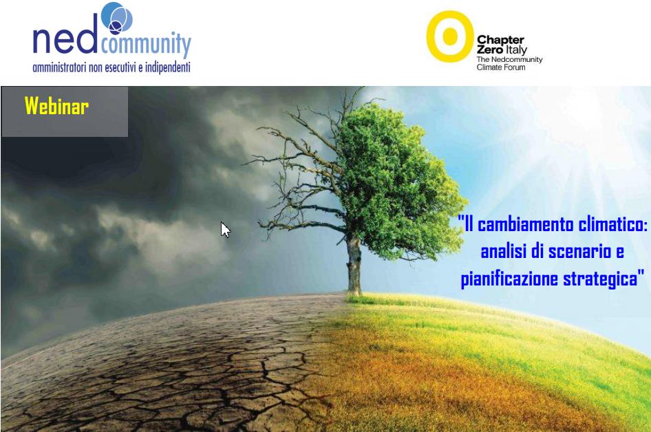 WEBINAR – Il cambiamento climatico: analisi di scenario e pianificazione strategica – Chapter Zero 29/10/2020